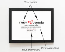 Load image into Gallery viewer, Personalised Custom Frame with message, names and date.