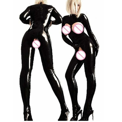 Lady Sexy Black Faux Leather Catsuit - Fetish Shop USA