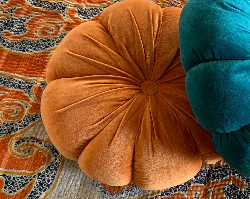 Orange Velvet Flower Cushion