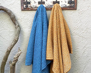 Waffle Throw Denim Blue