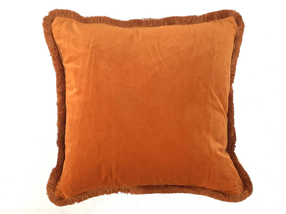 Velvet Fringe Cushion Bright Orange