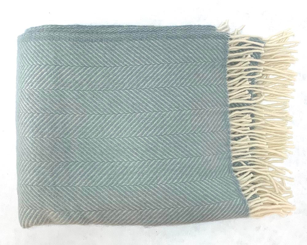 Wool Herringbone Throw Duck Egg