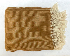 Wool Herringbone Throw Gold
