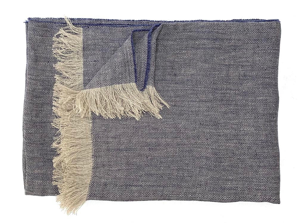 Irish Linen Throw Denim Blue