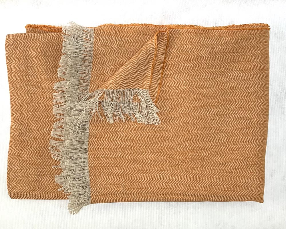 Irish Linen Throw Pale Orange