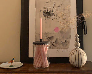 Pink Candles in an Etched Glass Jar