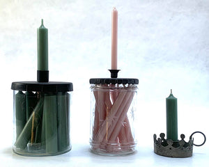 Green Candles in a Glass Jar