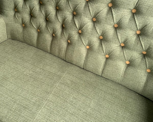 Green Button Back Linen-Look Sofa