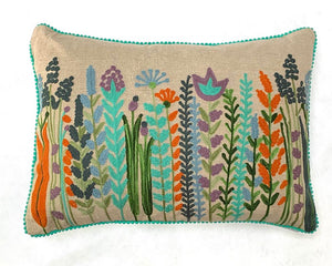 Embroidered Ferns & Flowers Cushion