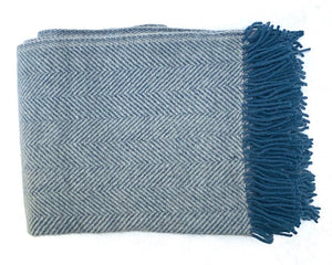 Woollen Herringbone Throw Denim