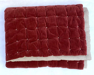 Velvet Button Stitched / Cotton Back Throw - Brick