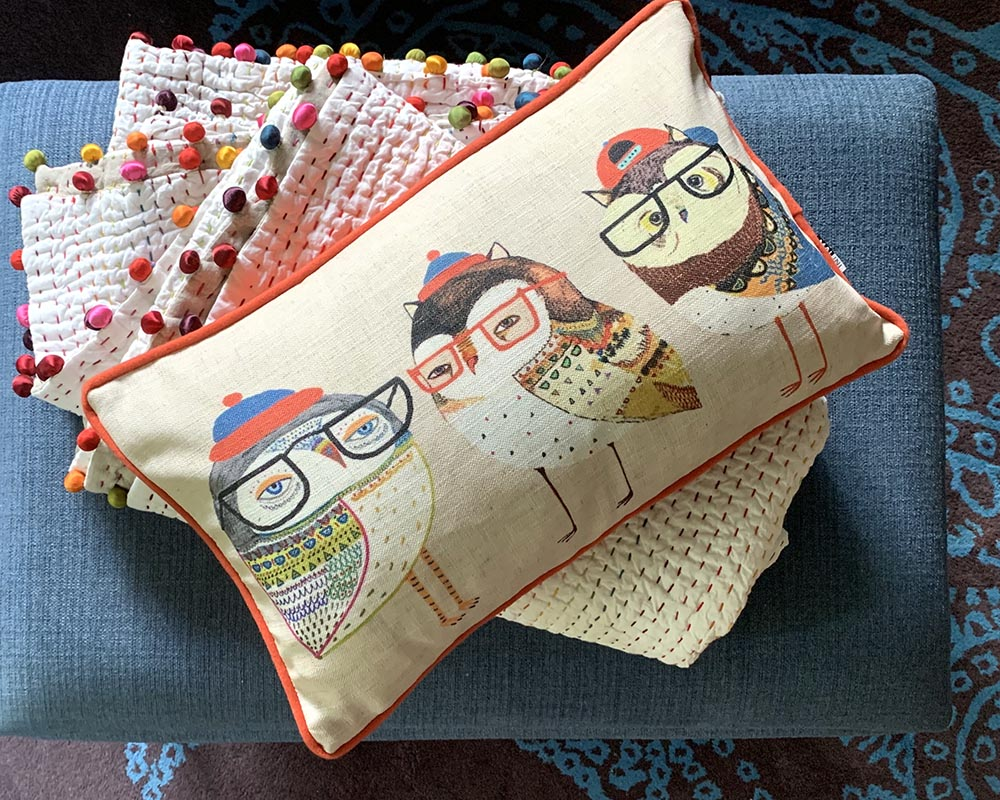 Owls in Glasses Cushion