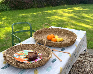 Set of Two Circular Seagrass Baskets