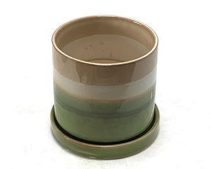 Plant Pot with Saucer Green