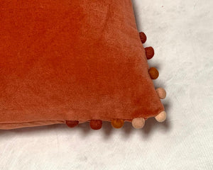 Velvet Pom Pom Cushion Orange