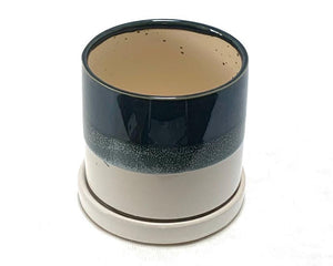 Plant Pot with Saucer Blue