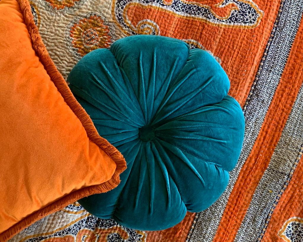 Teal Velvet Flower Cushion