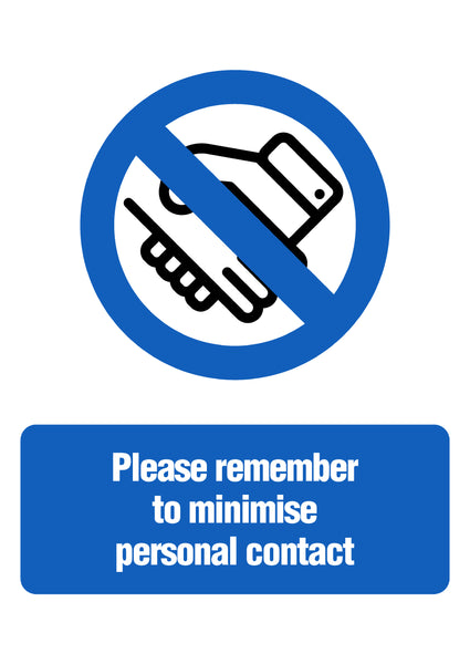 Minimise Personal Contact Sign