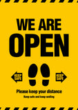 We Are Open (Keep Your Distance) Sign
