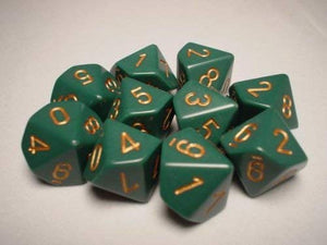 Chessex  25215 10 Sided Opaque Dusty Green/Copper Dice Set (10-Dice)