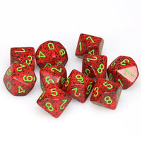 Chessex  25104 10 Sided Speckled Strawberry Dice Set (10-Dice)