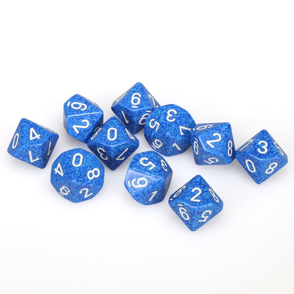 Chessex  25106 10 Sided Speckled Water Dice Set (10-Dice)