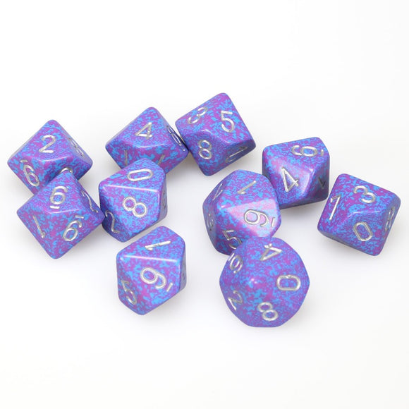 Chessex  25147 10 Sided Speckled Silver Tetra Dice Set (10-Dice)