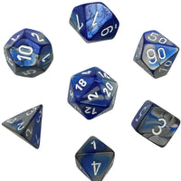 Chessex 26423 Gemini™ Blue-Steel w/white 7 die set