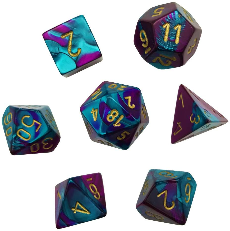 Chessex 26449 Gemini™ Purple-Teal w/gold 7 die set