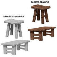 DEEP CUTS UNPAINTED MINIATURES - WOODEN TABLE AND STOOLS