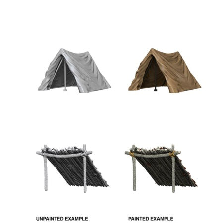 DEEP CUTS UNPAINTED MINIATURES -  TENT AND LEAN-TO