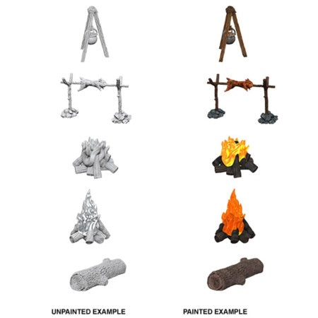 DEEP CUTS UNPAINTED MINIATURES -  CAMP FIRE AND SITTING LOG