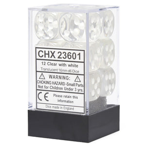 Chessex Translucent CHX23601 16mm d6 Clear/White (12-Dice)