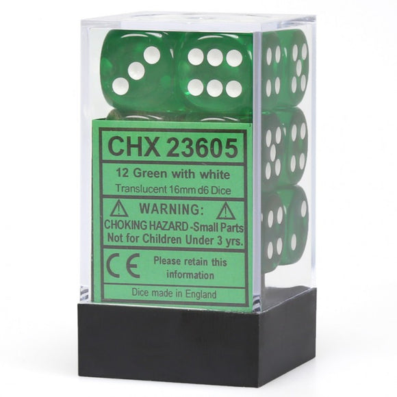 Chessex Translucent CHX23605 16mm d6 Green/ White (12-Dice)