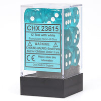 Chessex Translucent CHX23615 16mm d6 Teal/White (12-Dice)