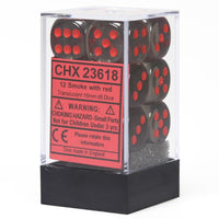 Chessex Translucent CHX23618 16mm d6 Smoke/Red (12-Dice)