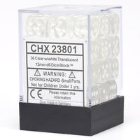 Chessex Translucent CHX23801 12mm d6 Clear/White (36-Dice)