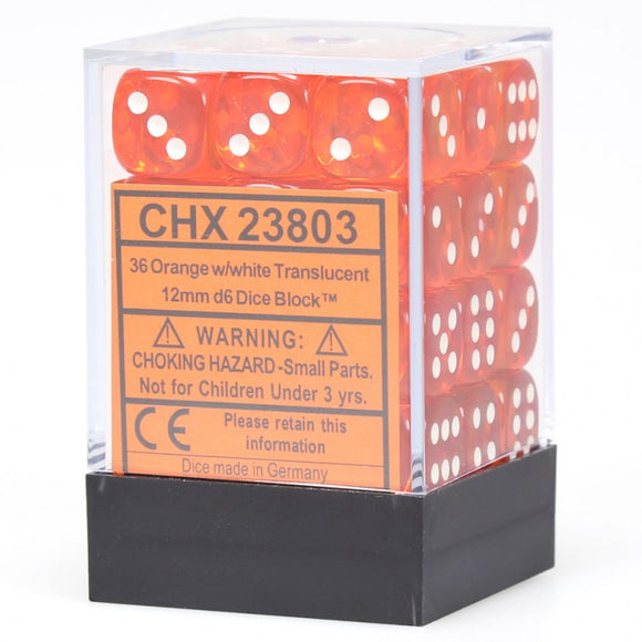 Chessex Translucent CHX23803 12mm d6 Orange/White (36-Dice)