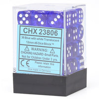 Chessex Translucent CHX23806 12mm d6 Blue/White (36-Dice)