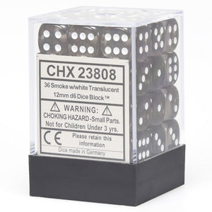 Chessex Translucent CHX23808 12mm d6 Smoke/White (36-Dice)