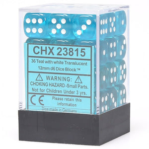 Chessex Translucent CHX23815 12mm d6 Teal/White (36-Dice)