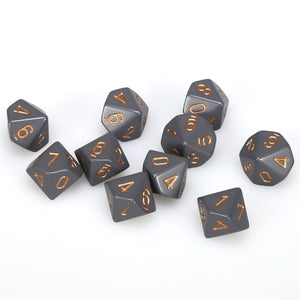 Chessex  25220 10 Sided Opaque Dark Grey/Copper Dice Set (10-Dice)