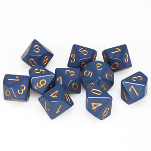 Chessex  25226 10 Sided Opaque Dusty Blue/Copper Dice Set (10-Dice)