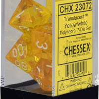 Chessex CHX23072 Translucent Yellow/White Polyhedral 7-Die Set