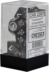 Chessex CHX23078 Translucent Smoke/White Polyhedral 7-Die Set