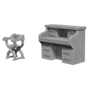 DEEP CUTS UNPAINTED MINIATURES - DESK AND CHAIR