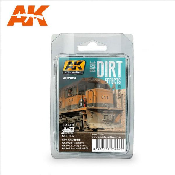 AK-Interactive: (Weathering) BASIC DIRT EFFECTS WEATHERING SET - TRAIN SERIES
