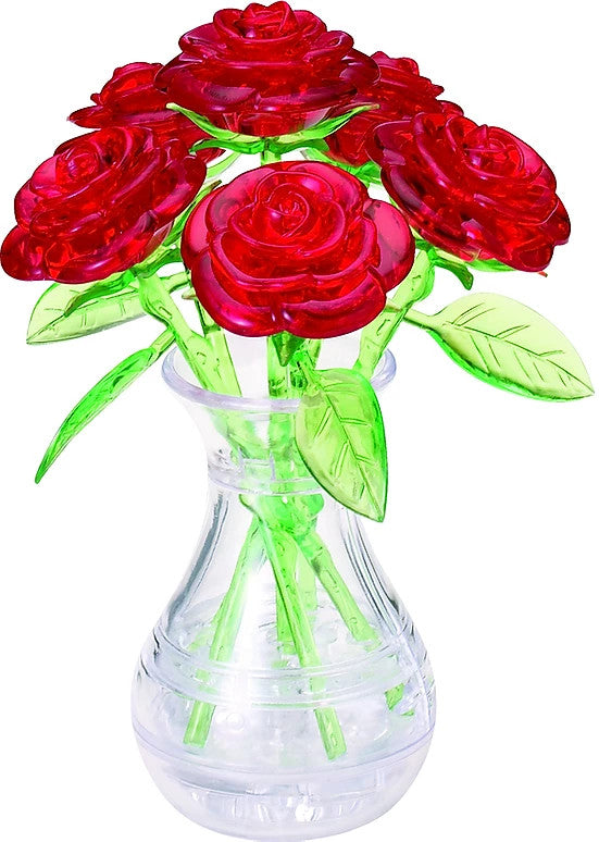 Original 3D Crystal Puzzle - Red Roses in a Vase (Level 2)