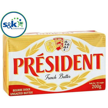 BEURRE PRESIDENT UNSALTED 200g