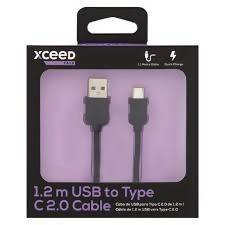 CABLE DATA TYPE C USB 2.0 XCEED TALK BLK 1.2 M - AfriMarket